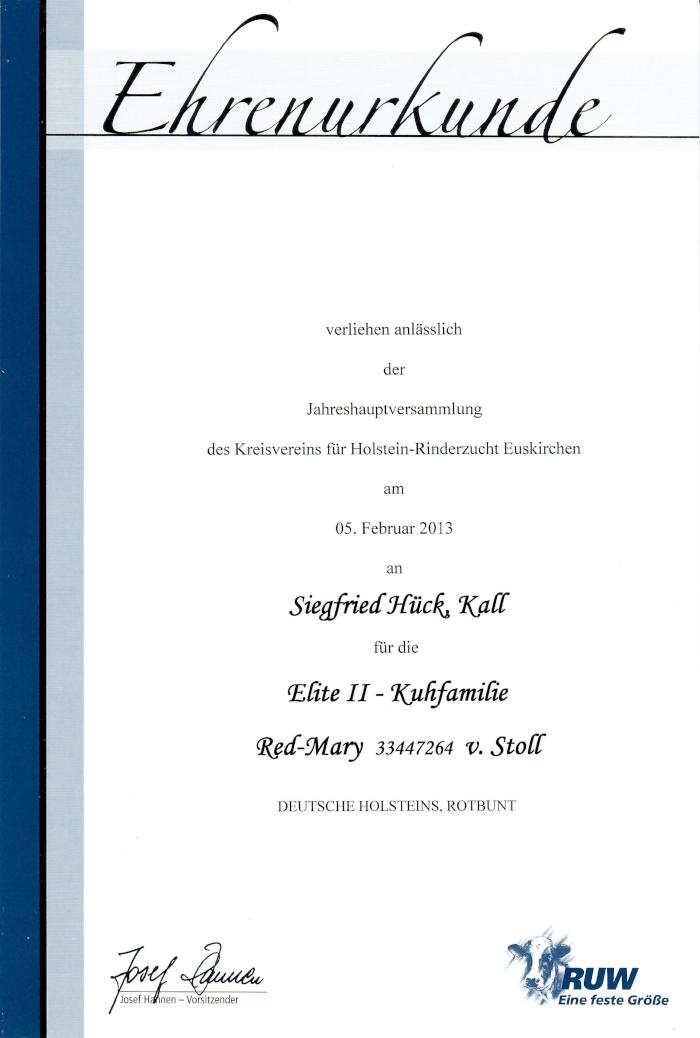 Urkunde Felsfeldhof Bauernhof Eifel Kall